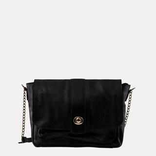 Čierna kožená crossbody kabelka Pieces Luna