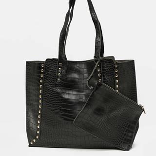 Čierny shopper s krokodýlím vzorom Zabaione