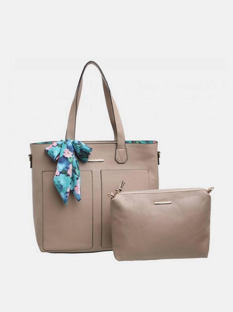 Bessie London Béžová kabelka s púzdrom a ozdobnou šatkou Bessie London