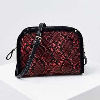 Čierno-červená crossbody kabelka s hadím vzorom