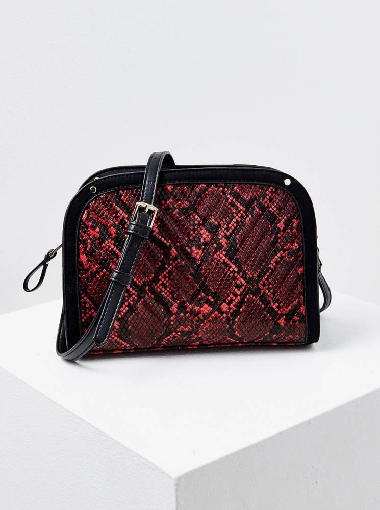 CAMAIEU Čierno-červená crossbody kabelka s hadím vzorom CAMAIEU
