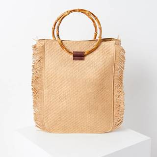Béžová slamená kabelka