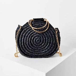 Čierna slamená crossbody kabelka