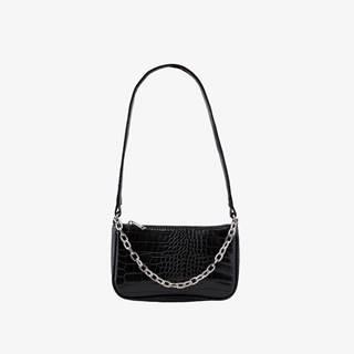 Čierna crossbody kabelka s hadím vzorom Pieces Jill