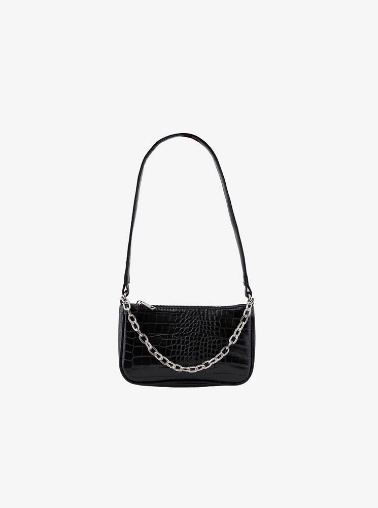 Pieces Čierna crossbody kabelka s hadím vzorom  Jill