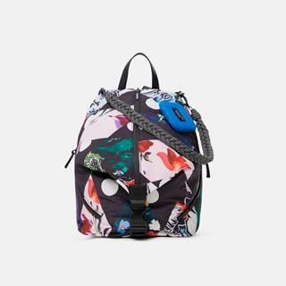 Čierny dámsky kvetovaný batoh  Rombos Viana Mini