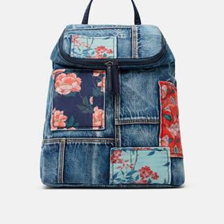 Modrý dámsky kvetovaný batoh  Beta Patch Loen