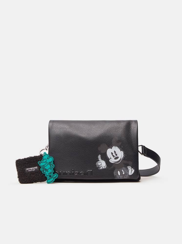 Desigual Čierna dámska crossbody kabelka s motívom  Mickey Dortmund Flap