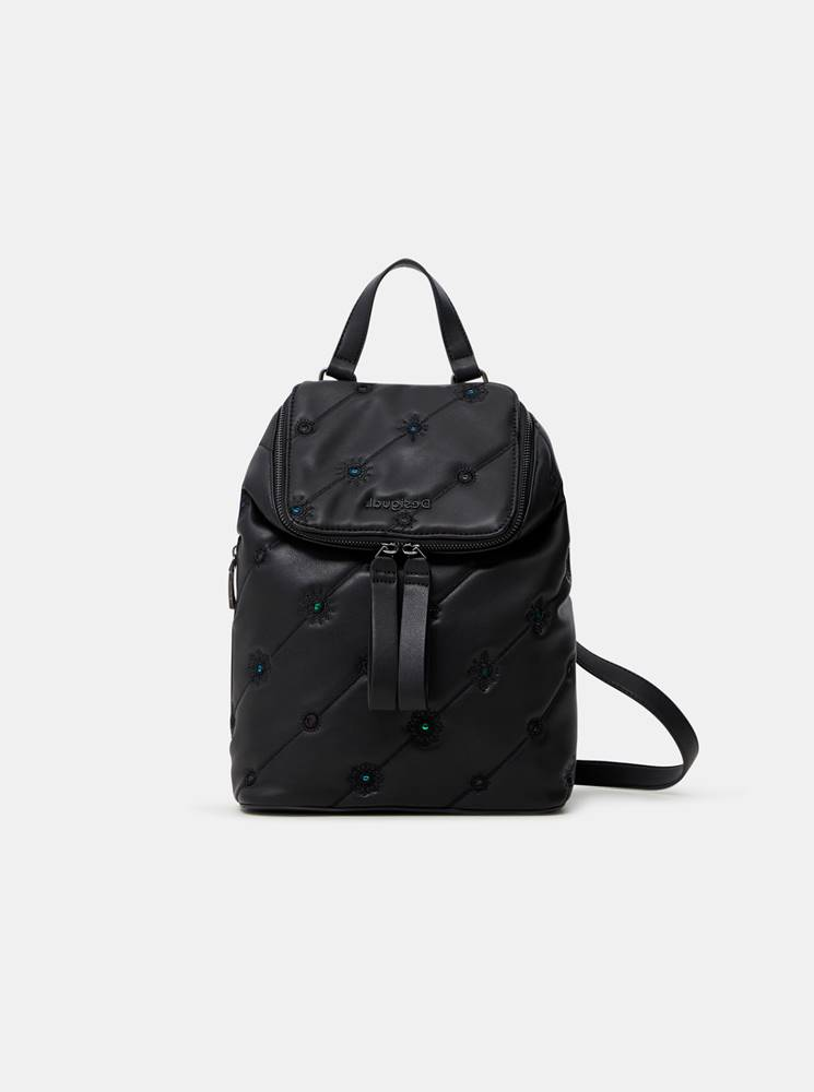 Desigual Čierny dámsky vzorovaný batoh  Ojo de Tigre Nerano Loen Mini
